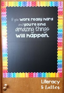 Classroom door chalkboard rainbow and quote