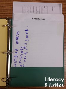 Reading Recovery Studnet Binder Organization