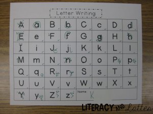 Teacher letter formation sheet
