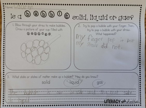 Bubbles worksheet